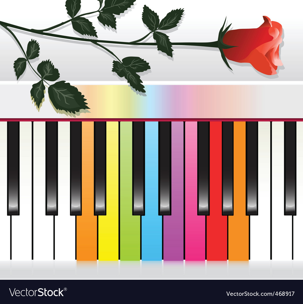 Piano with rose vector | Price: 1 Credit (USD $1)