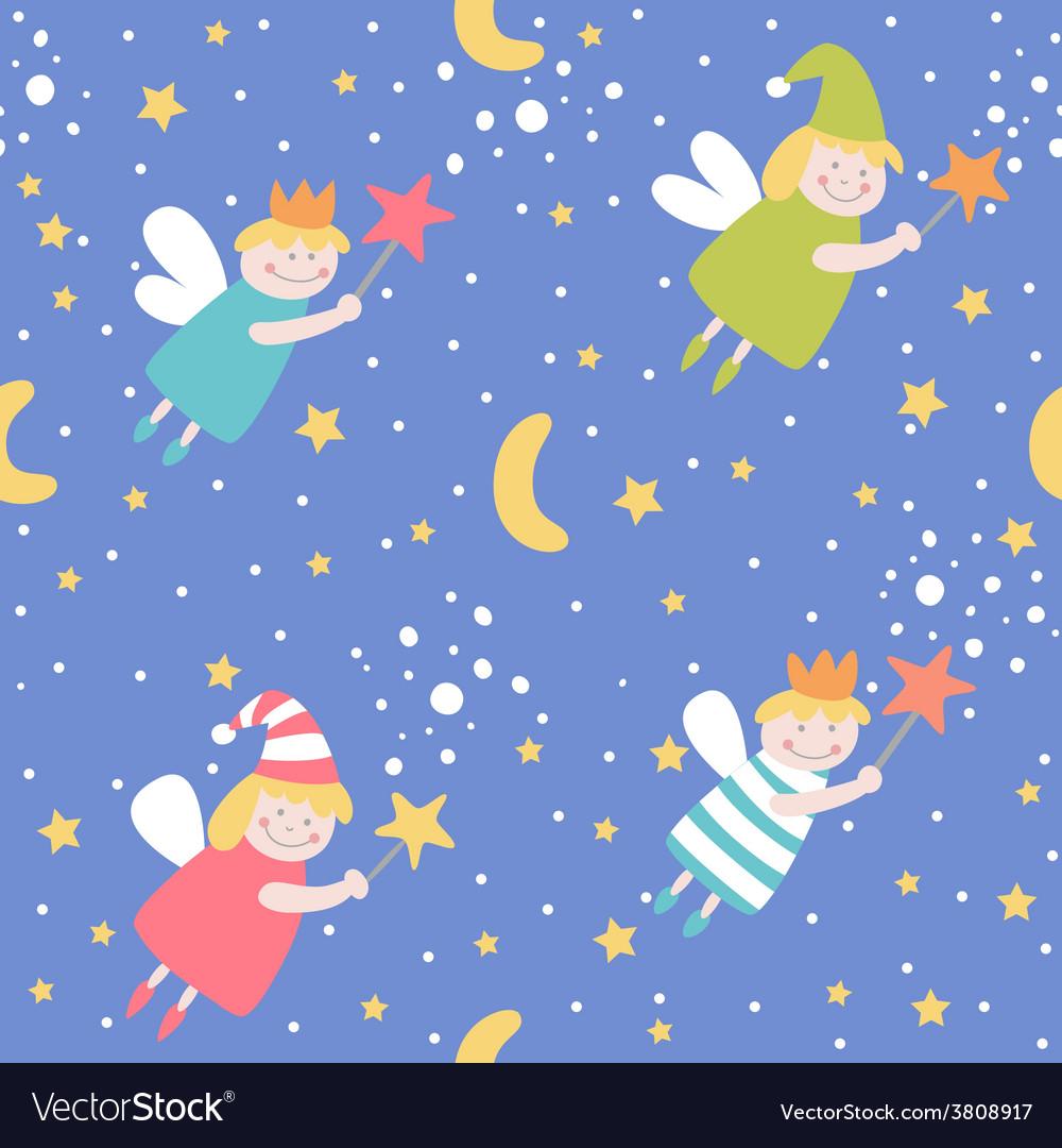 Seamless pattern with sleep fairies vector | Price: 1 Credit (USD $1)
