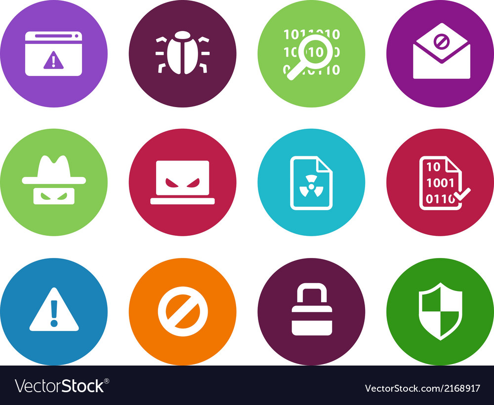 Security circle icons on white background vector | Price: 1 Credit (USD $1)