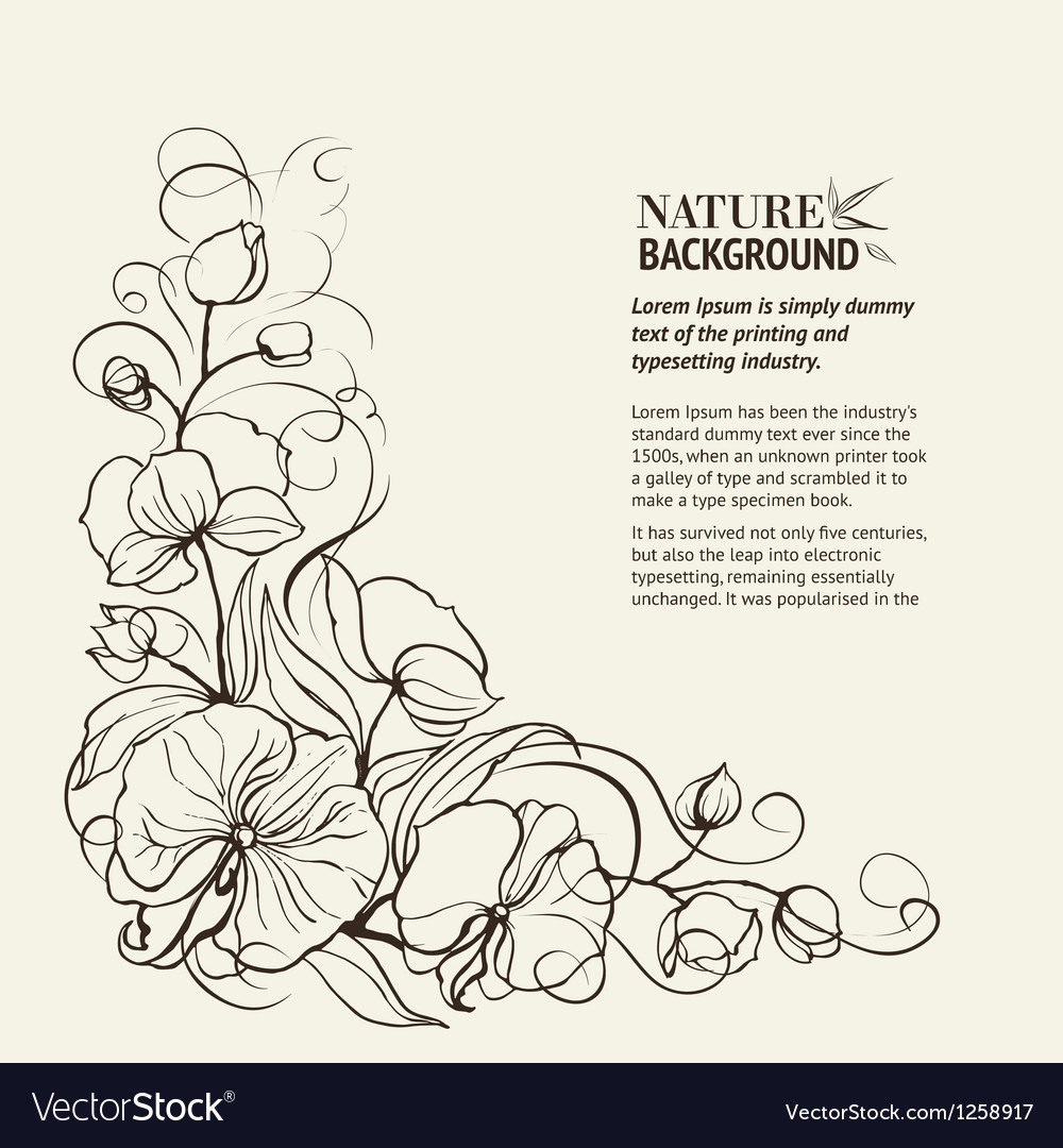 Sepia grunge background with orchid imprint vector | Price: 1 Credit (USD $1)