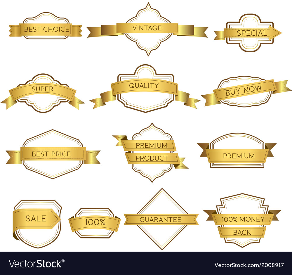 Set luxury labels and ribbons vector | Price: 1 Credit (USD $1)