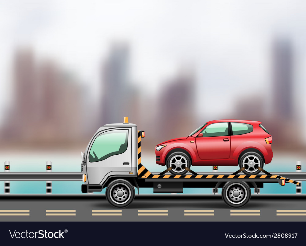 Towing truck in the city vector | Price: 1 Credit (USD $1)