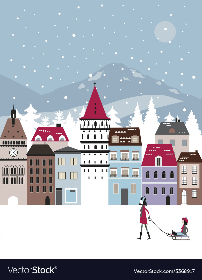 Winter city vector | Price: 1 Credit (USD $1)