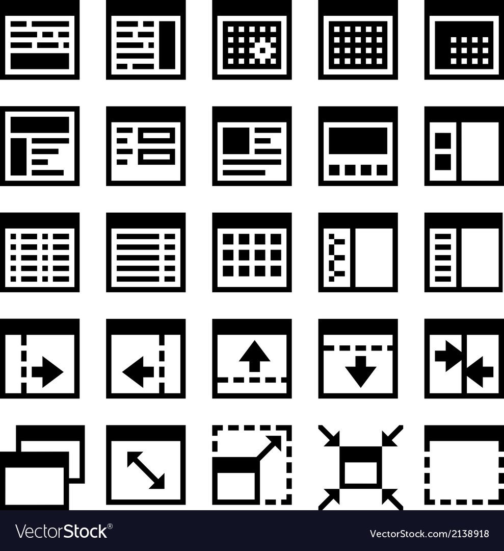 25 icons software window layout vector | Price: 1 Credit (USD $1)