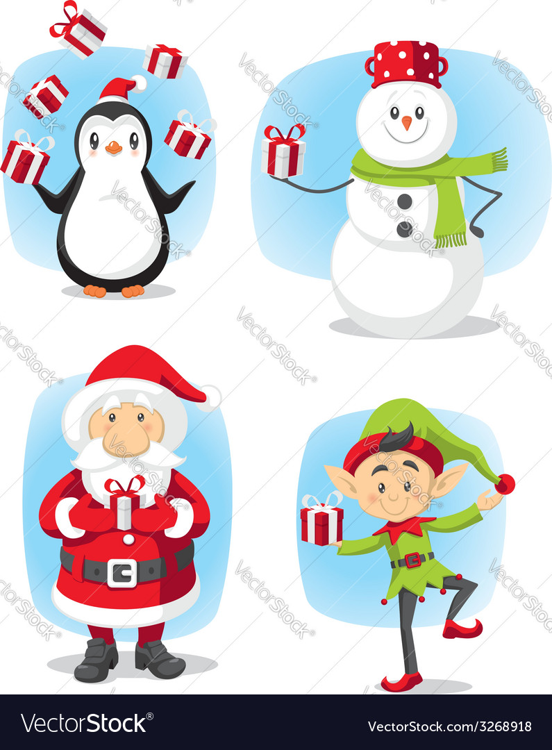 Christmas characters set cartoon vector | Price: 1 Credit (USD $1)