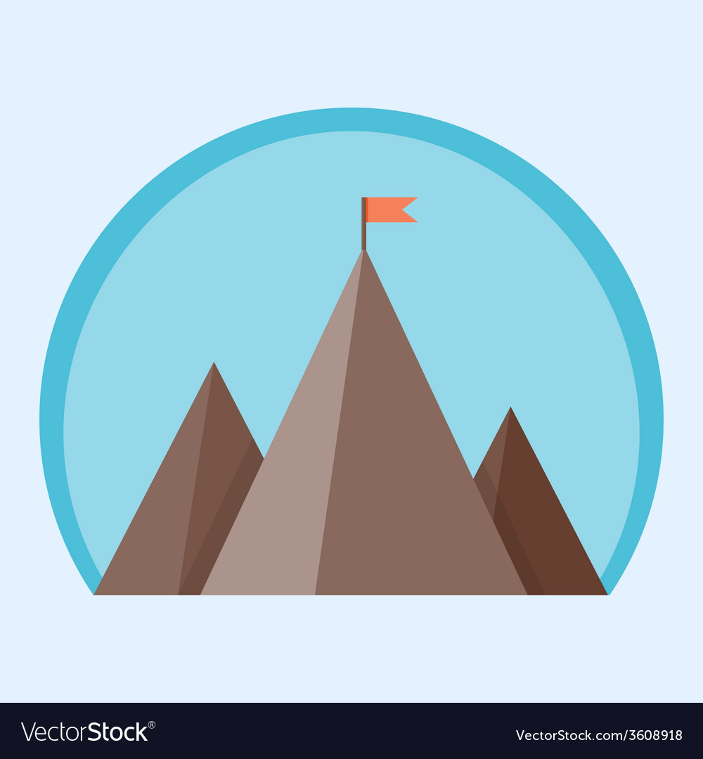 Flat mountain peak with flag vector | Price: 1 Credit (USD $1)