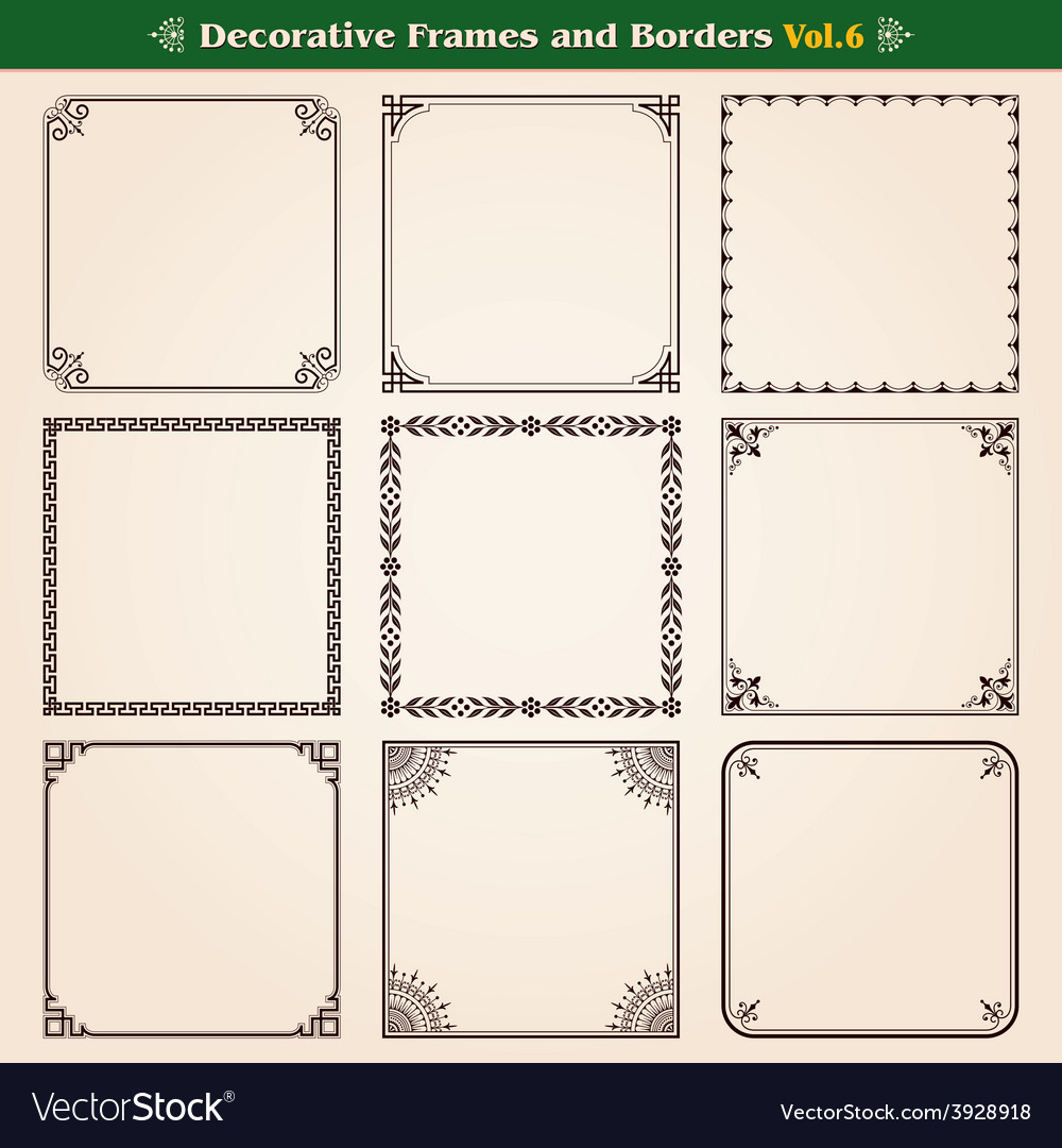 Frames and borders set 6 vector | Price: 1 Credit (USD $1)