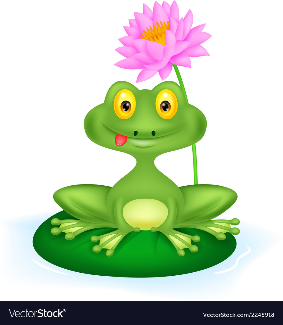 Green frog cartoon sitting on a leaf vector | Price: 1 Credit (USD $1)