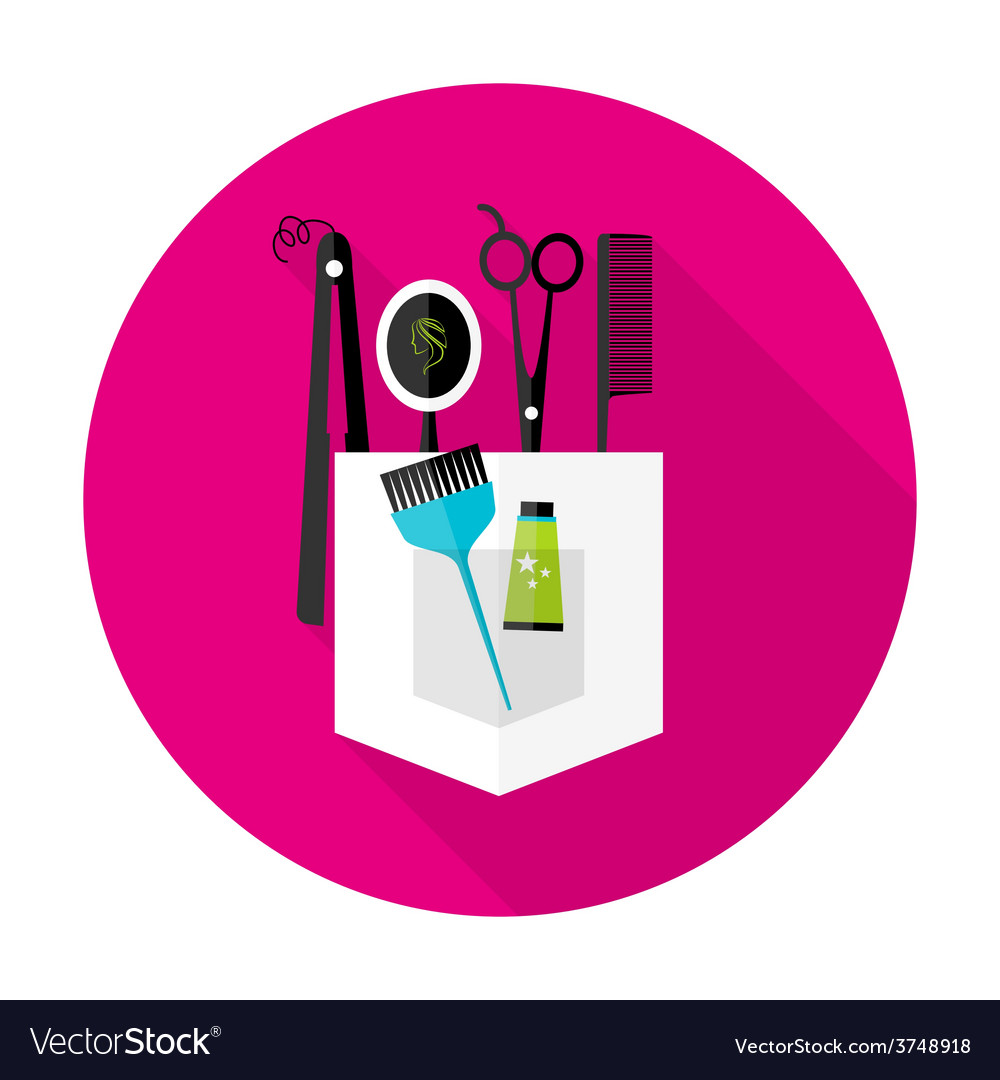 Hair stylist circle icon with long shadow vector | Price: 1 Credit (USD $1)