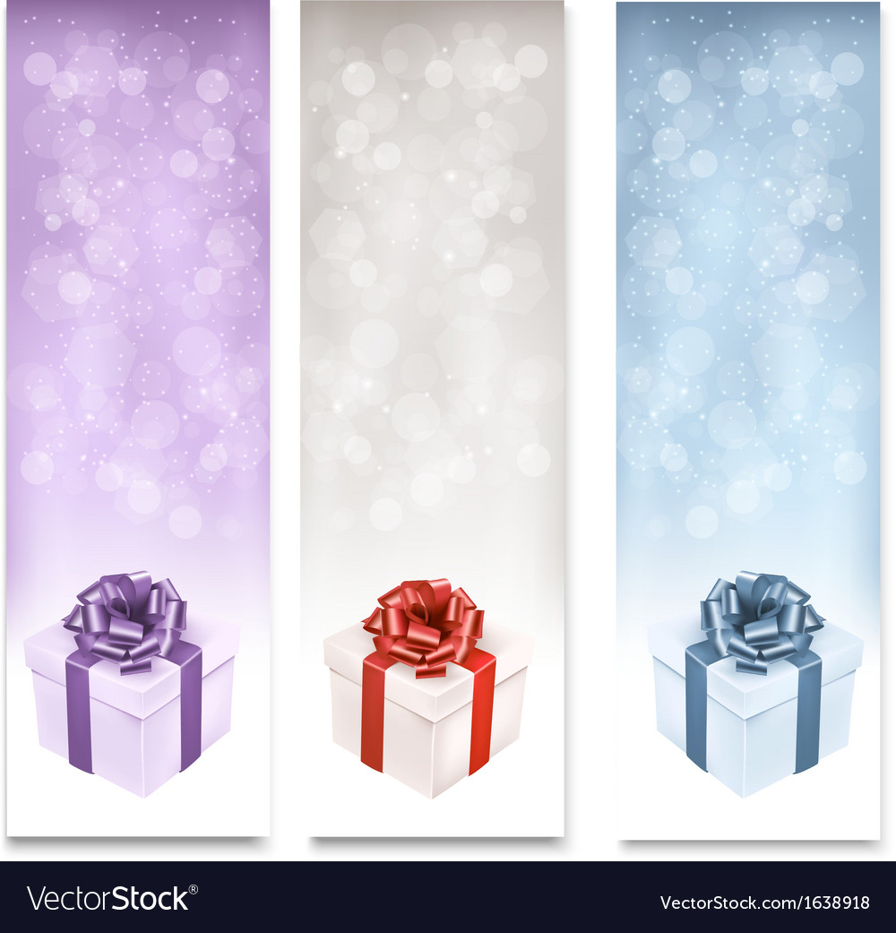 Holiday banners with colorful gift boxes vector | Price: 1 Credit (USD $1)