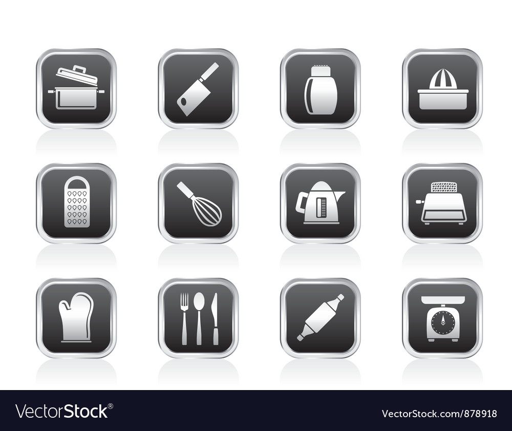 Kitchen and household utensil icons vector | Price: 1 Credit (USD $1)