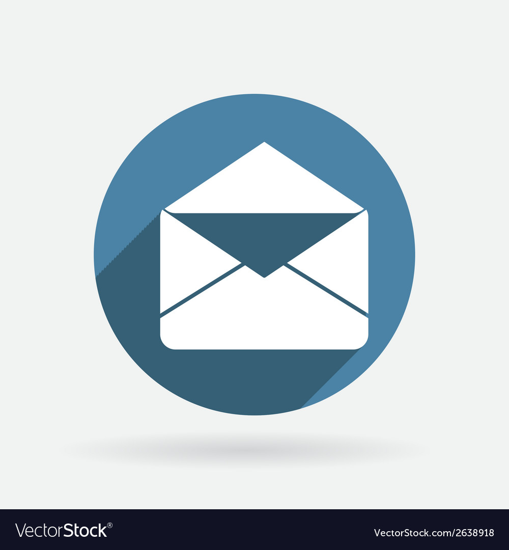 Postal envelope circle blue icon with shadow vector   Price: 1 Credit (USD $1)