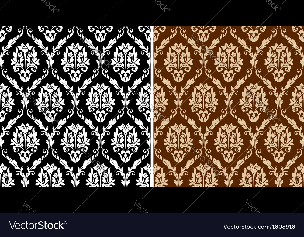 Two floral seamless arabesque patterns vector | Price: 1 Credit (USD $1)