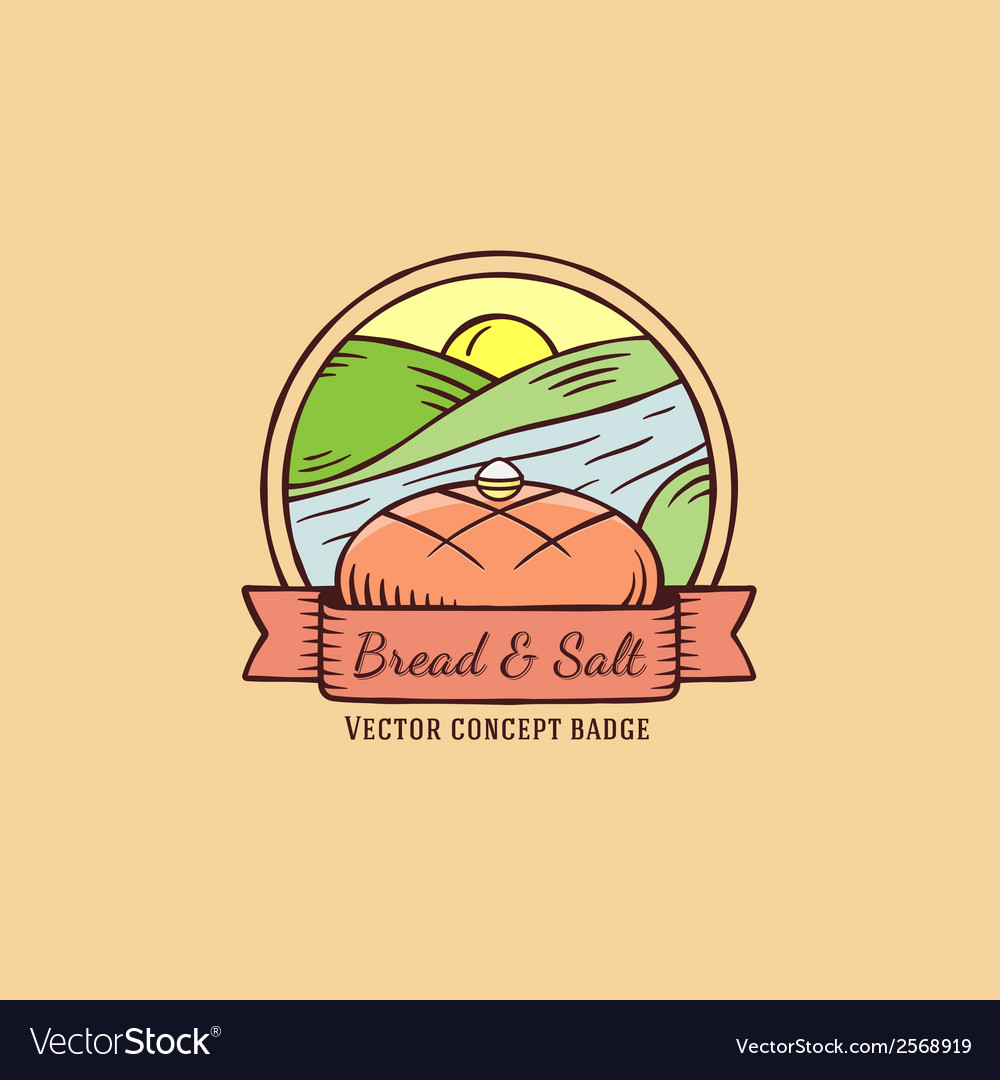 Bread and salt hand drawn vintage badge vector | Price: 1 Credit (USD $1)