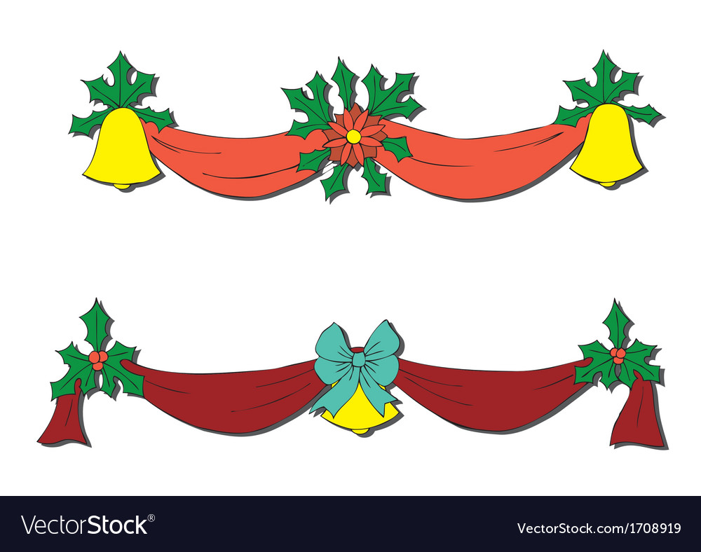 Christmas decoration with bells and bows vector | Price: 1 Credit (USD $1)