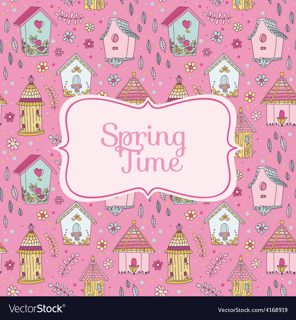 Cute bird houses card - spring time vector | Price: 1 Credit (USD $1)