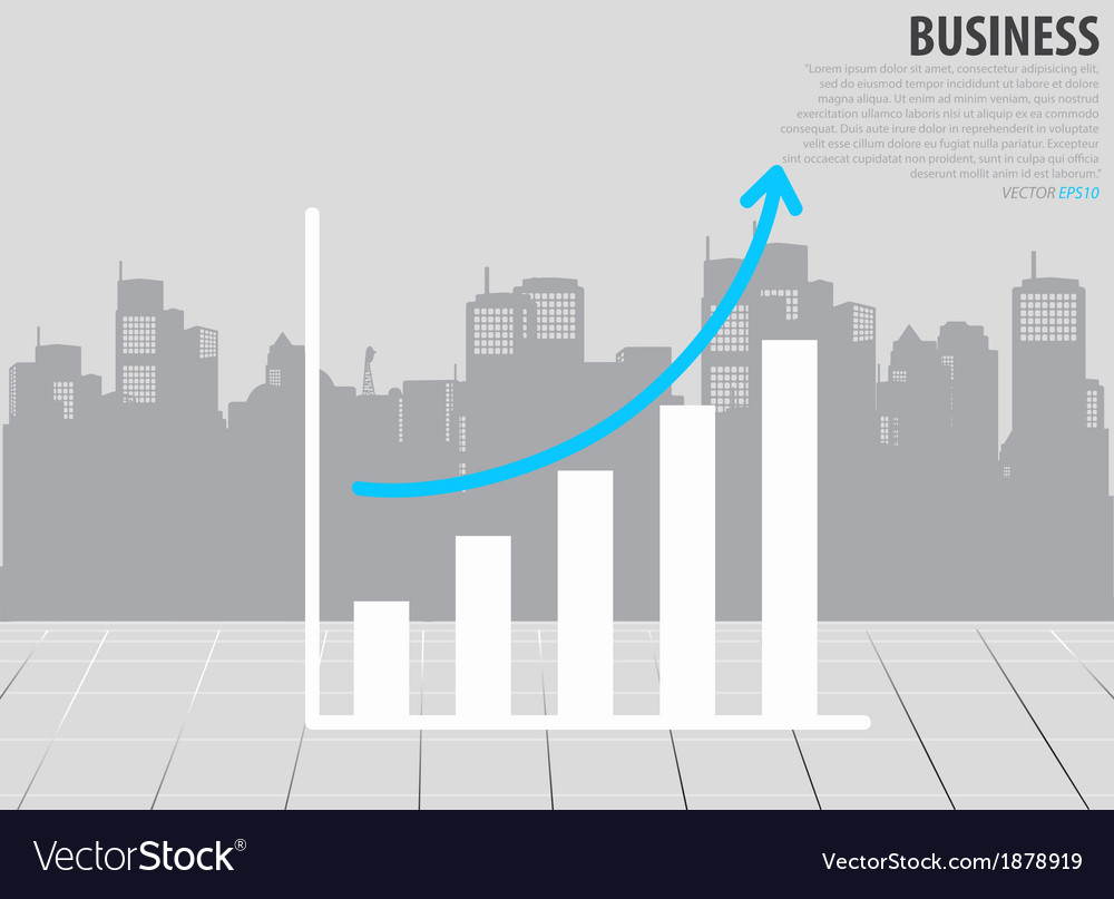 Growth chart with building background vector | Price: 1 Credit (USD $1)