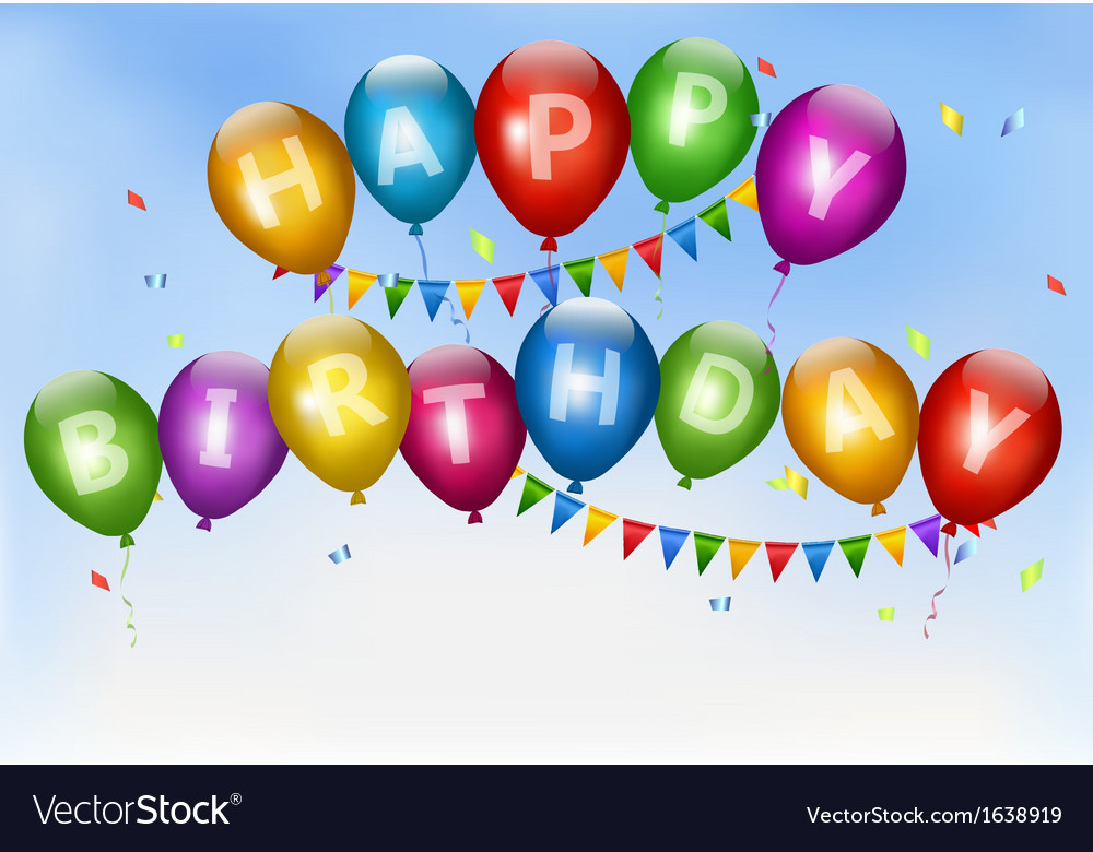 Happy birthday balloons holiday background vector | Price: 1 Credit (USD $1)