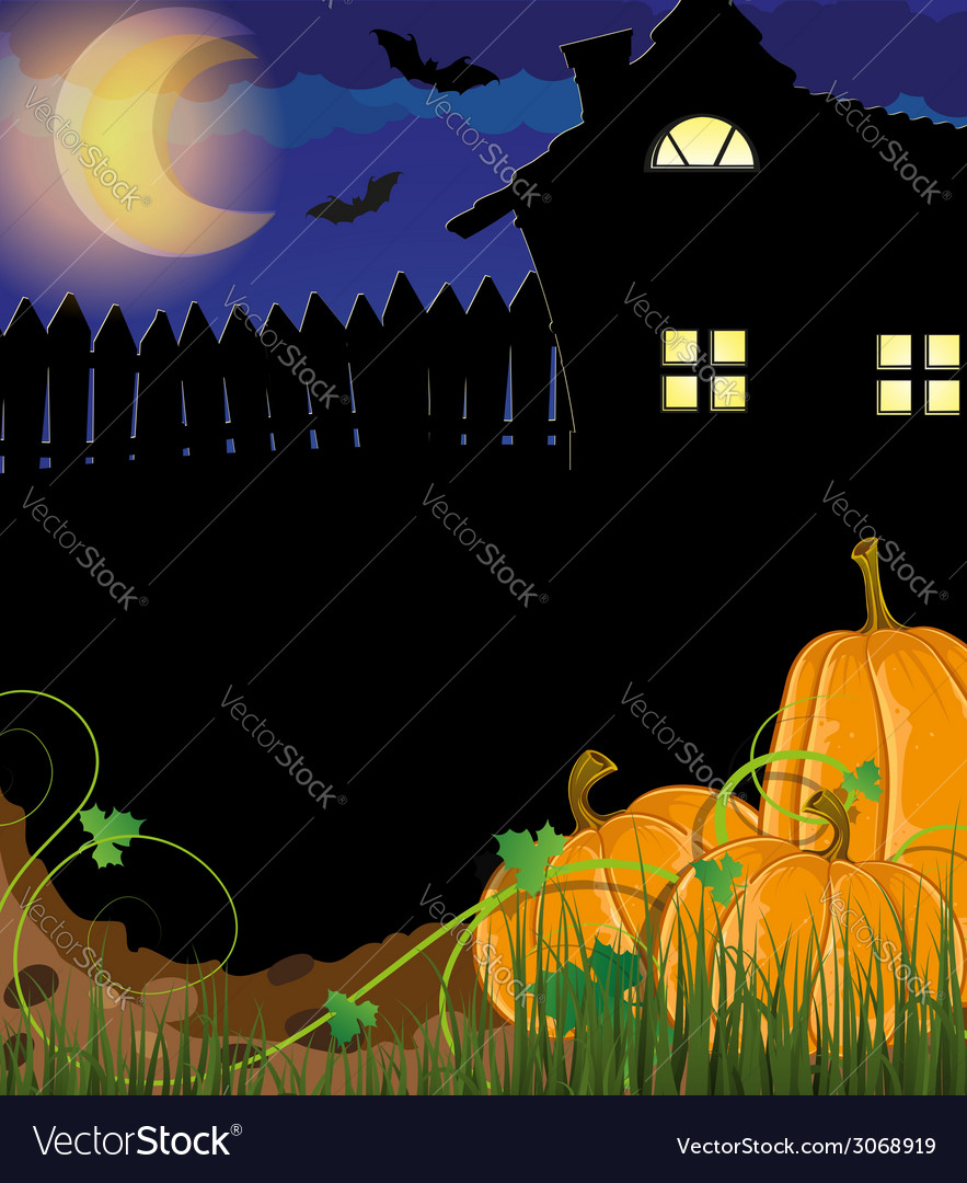 Pumpkins with sprouts and leaves near the house vector | Price: 1 Credit (USD $1)