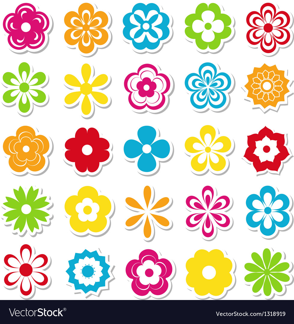 Set of bright flower stickers vector | Price: 1 Credit (USD $1)