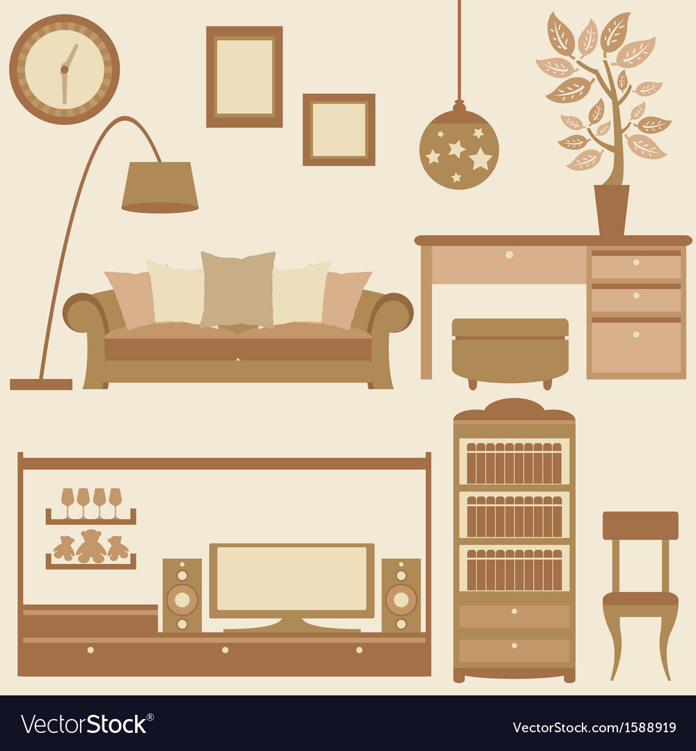 Set of furniture in livingroom vector | Price: 1 Credit (USD $1)