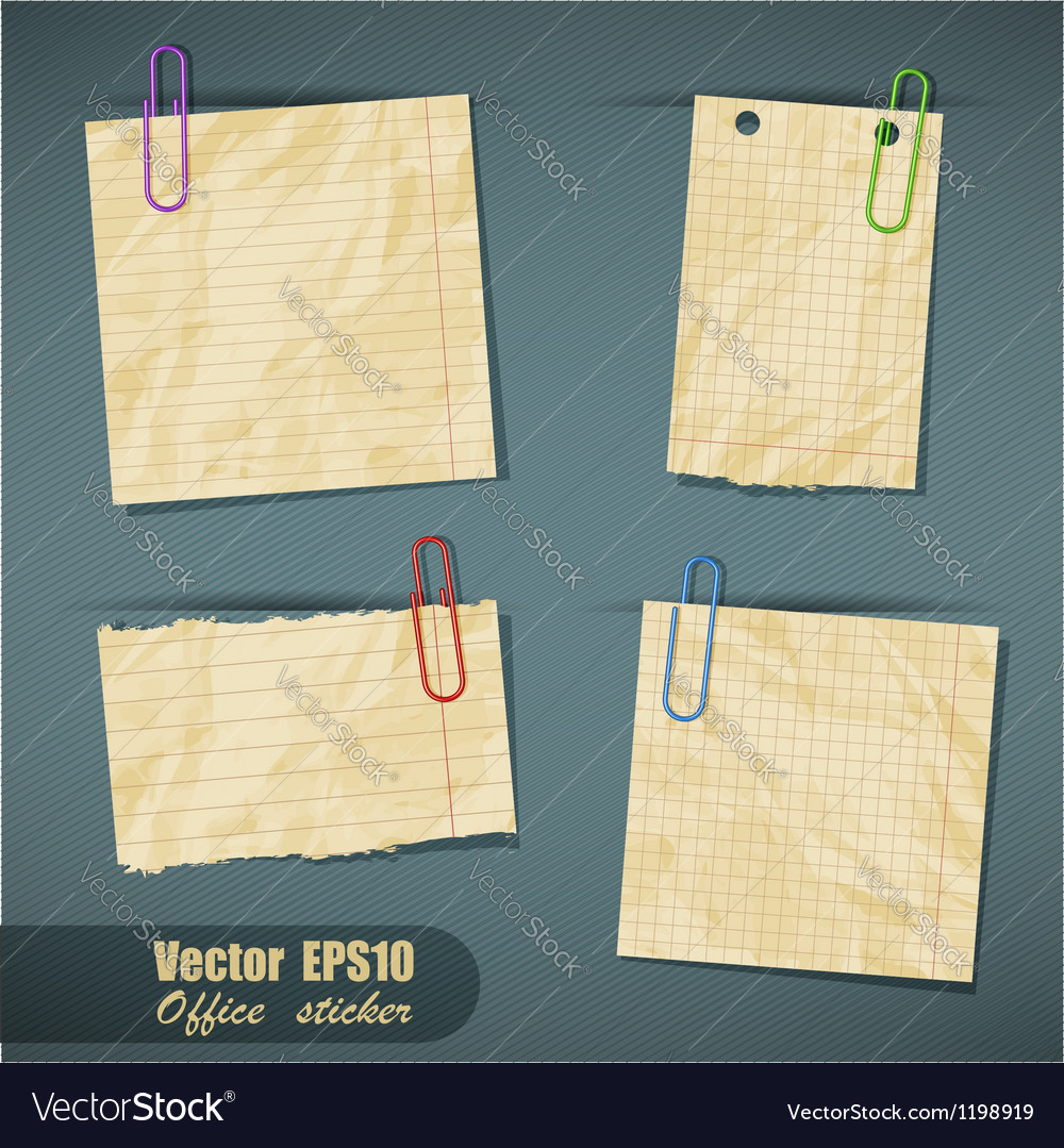 Set of realistic scraps of paper with clips vector | Price: 1 Credit (USD $1)