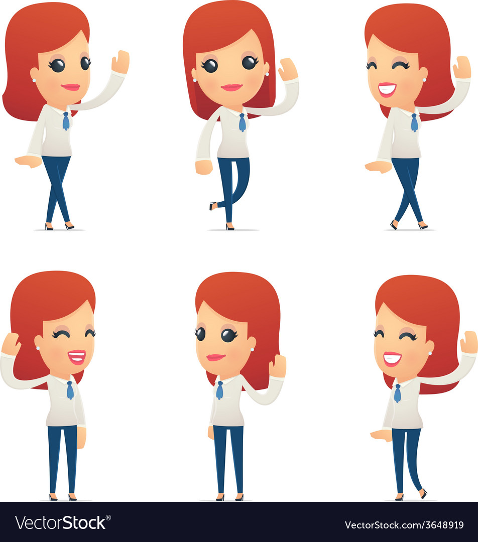 Set of reception character in different poses vector | Price: 3 Credit (USD $3)