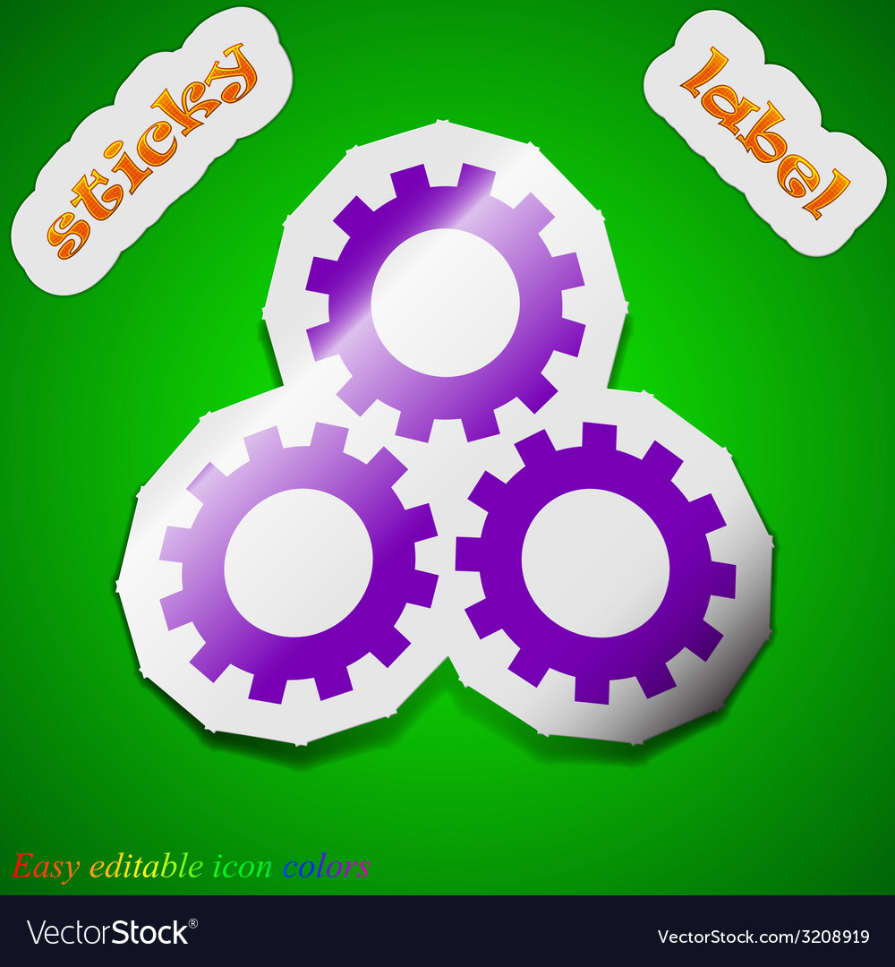 Setting icon sign symbol chic colored sticky label vector   Price: 1 Credit (USD $1)