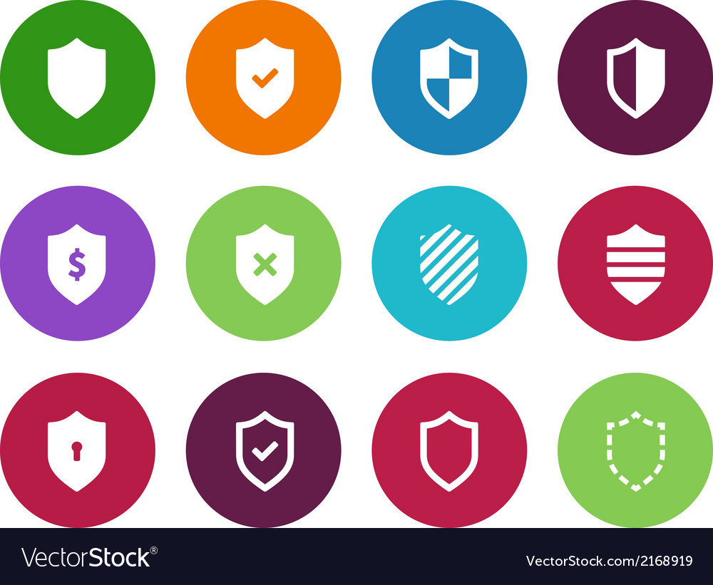 Shield circle icons on white background vector | Price: 1 Credit (USD $1)