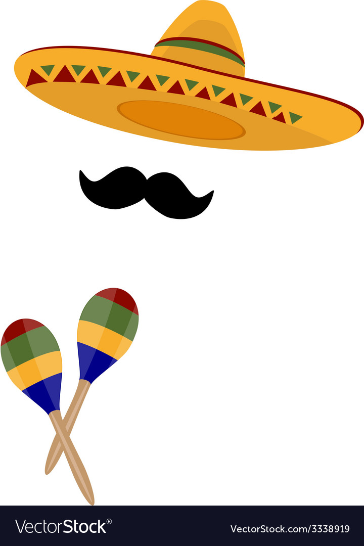 Sombrero maracas and mustache vector | Price: 1 Credit (USD $1)