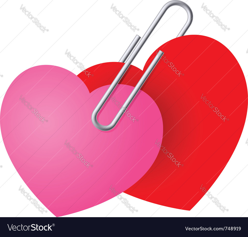 Two hearts pinned together vector | Price: 1 Credit (USD $1)