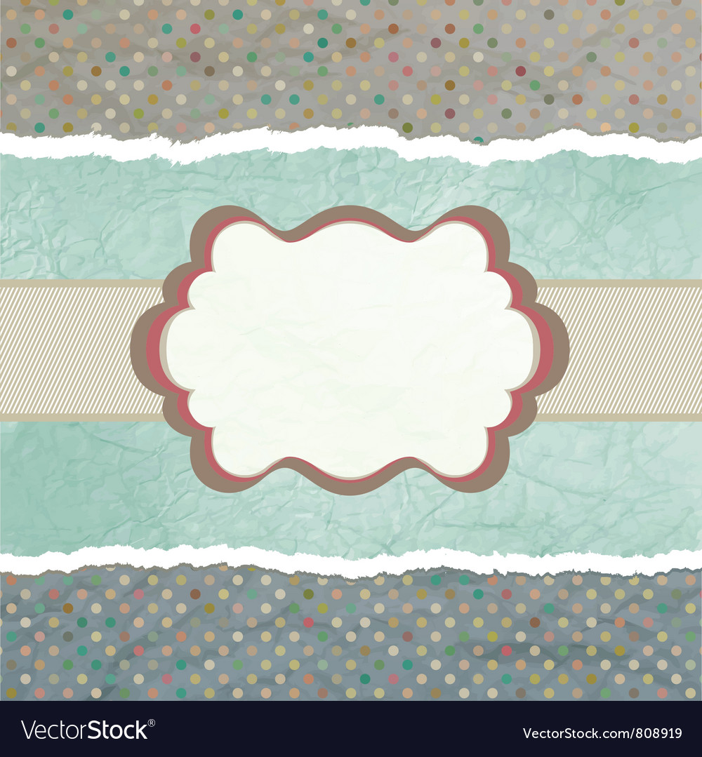 Vintage polka dots card vector | Price: 1 Credit (USD $1)