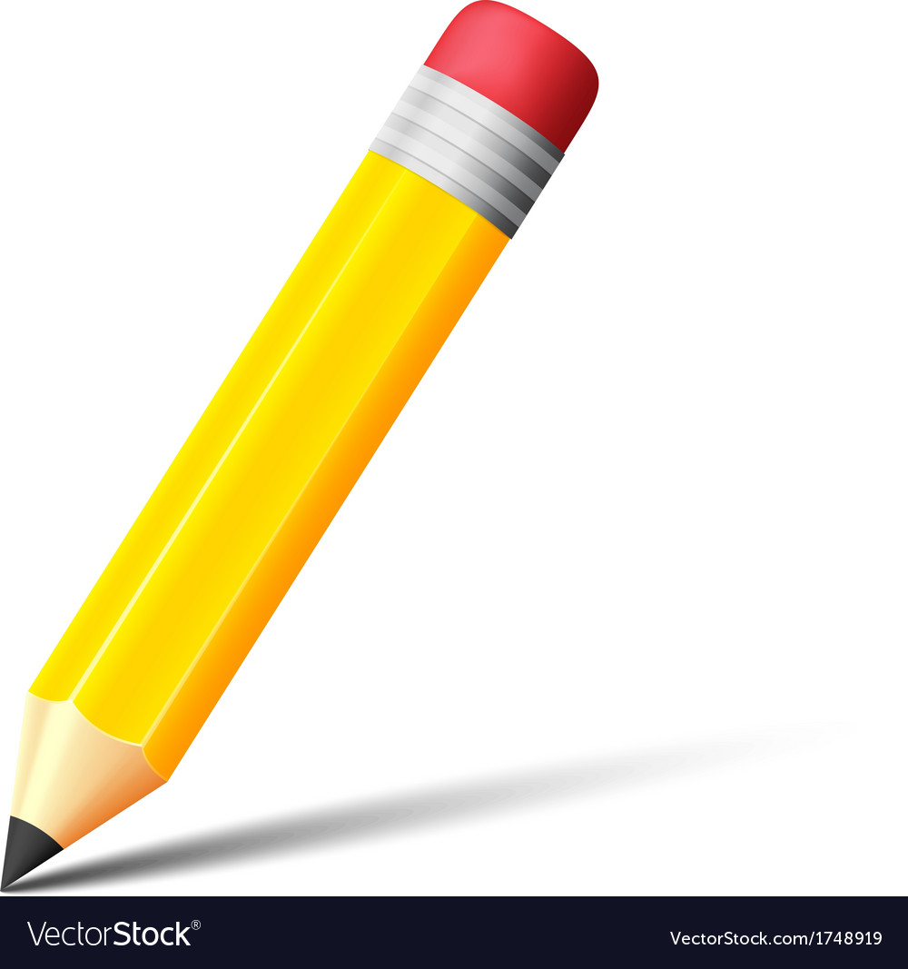 Yellow pencil with eraser icon vector | Price: 1 Credit (USD $1)