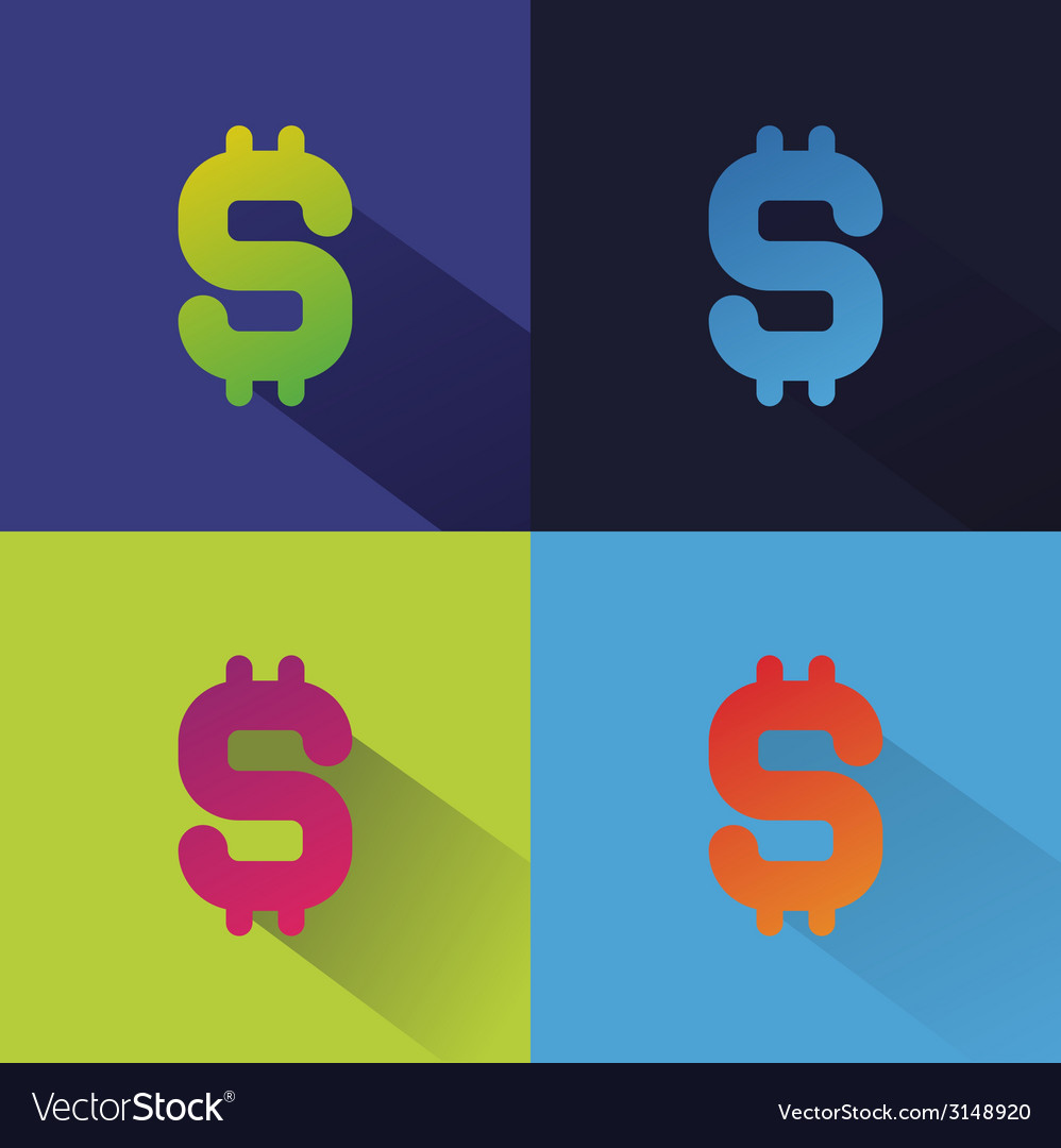 Abstract flat money set isolated on colored vector | Price: 1 Credit (USD $1)