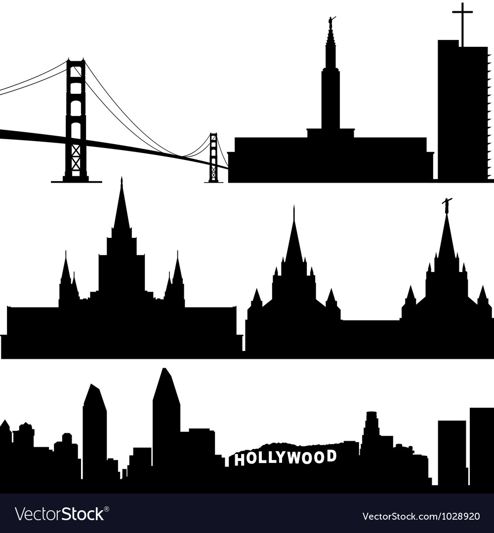 Architecture of california vector | Price: 1 Credit (USD $1)