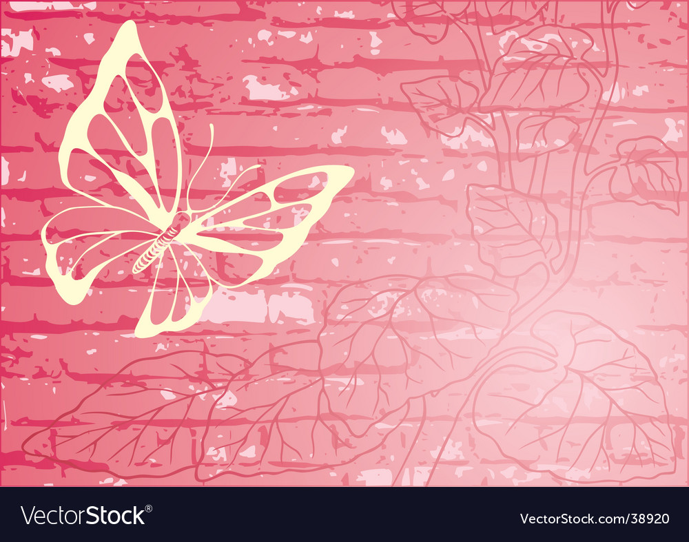 Butterfly with floral wall background vector | Price: 1 Credit (USD $1)