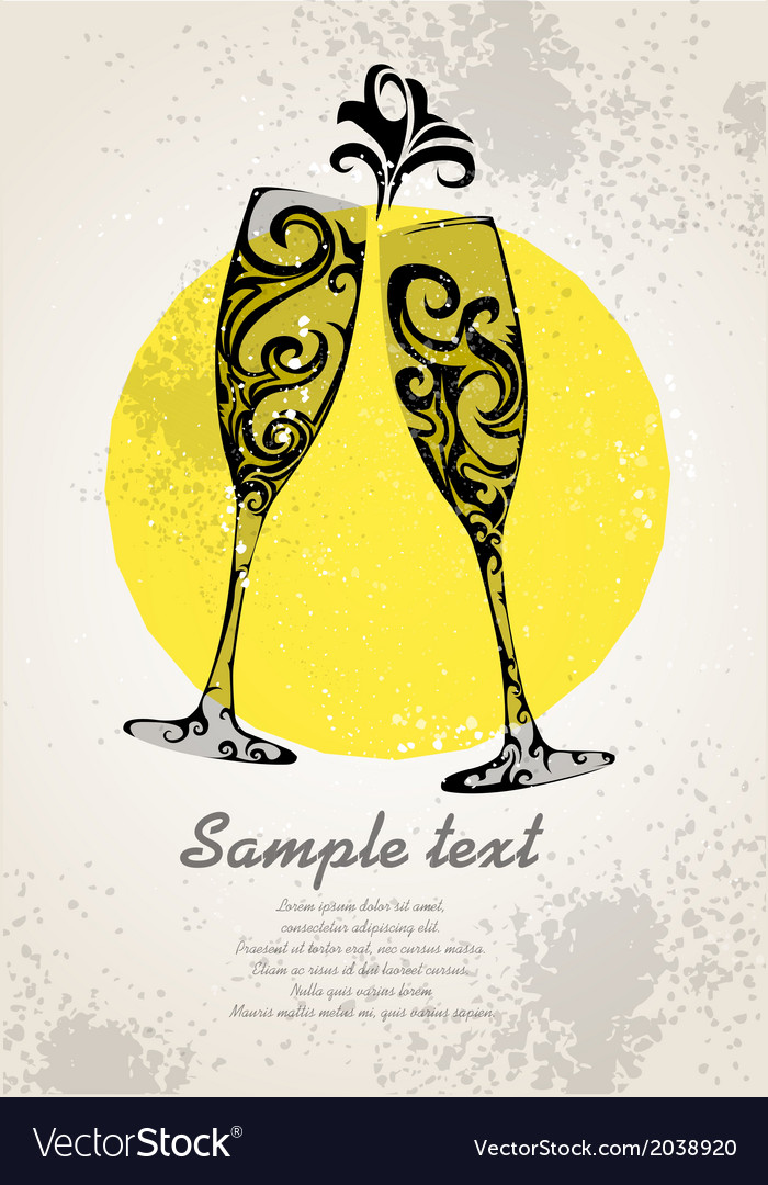 Champagne invitation vector | Price: 1 Credit (USD $1)