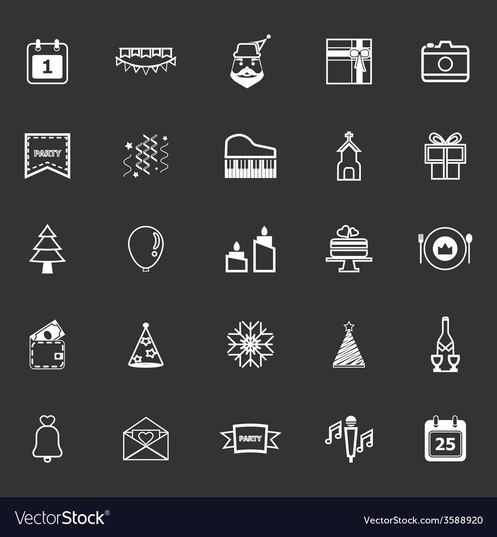 Christmas and new year line icons on gray vector   Price: 1 Credit (USD $1)