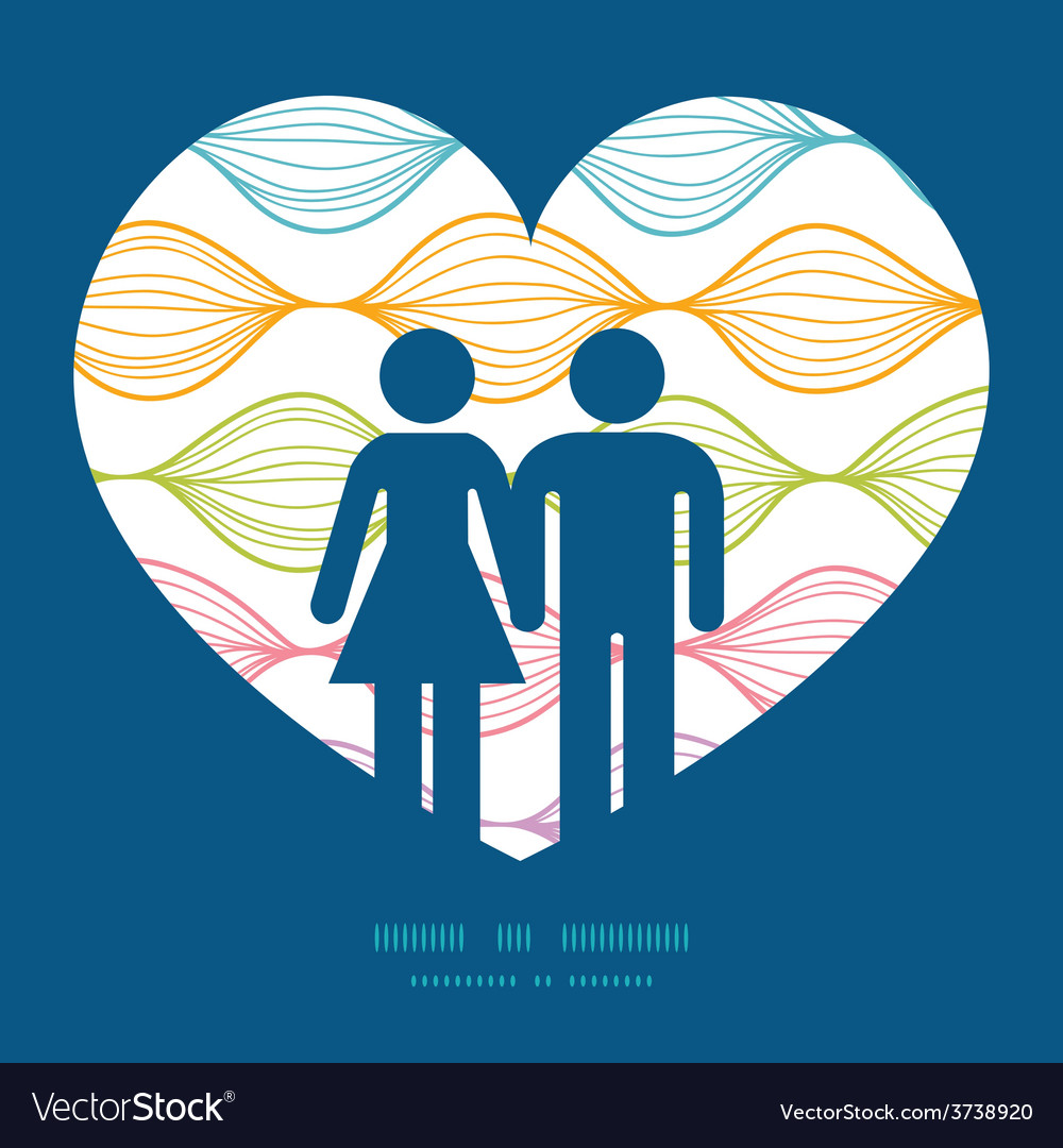 Colorful horizontal ogee couple in love vector | Price: 1 Credit (USD $1)