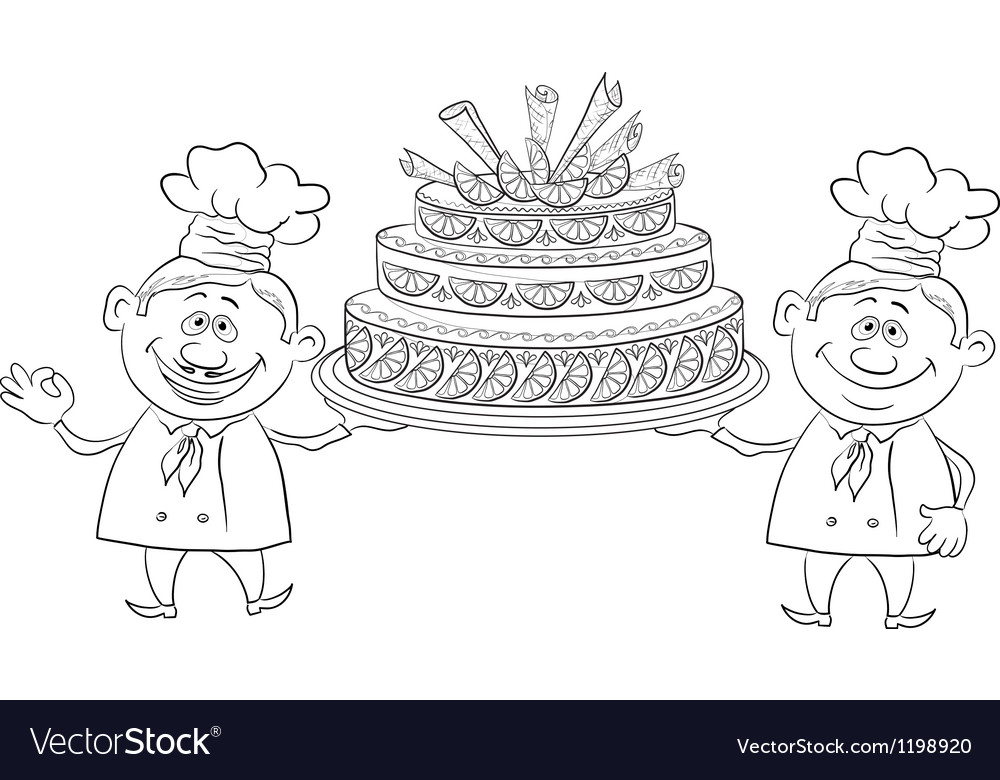 Cooks with holiday cake outline vector | Price: 1 Credit (USD $1)