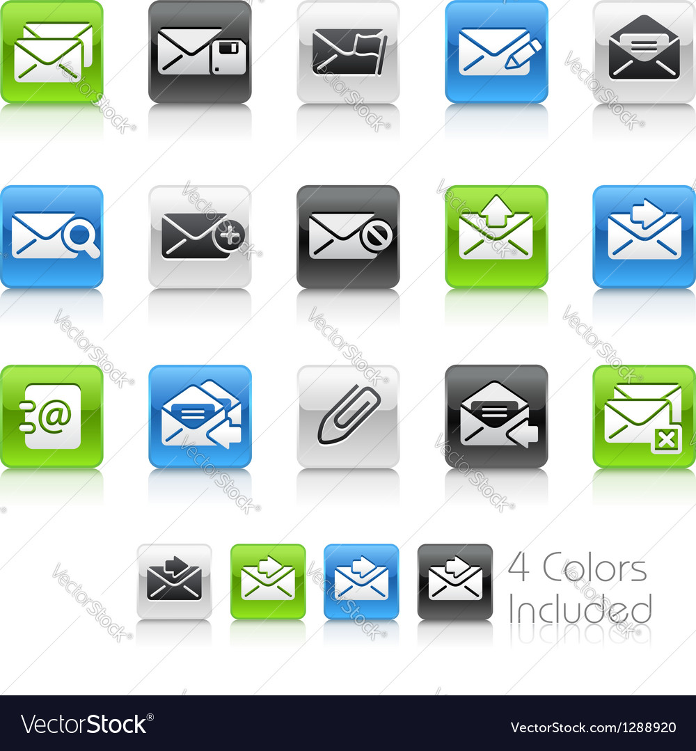 E mail icons clean series vector | Price: 1 Credit (USD $1)