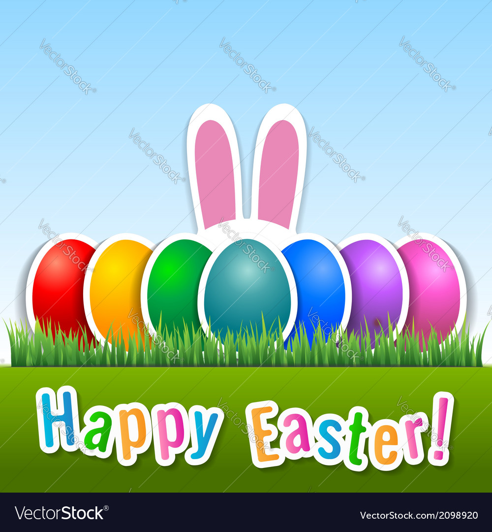 Happy easter card with eggs and bunny ears vector | Price: 1 Credit (USD $1)