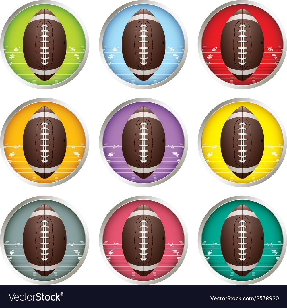 Multicolored american football emblems vector | Price: 1 Credit (USD $1)