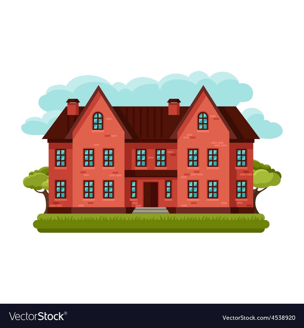 Old brick cottage on clouds vector | Price: 1 Credit (USD $1)