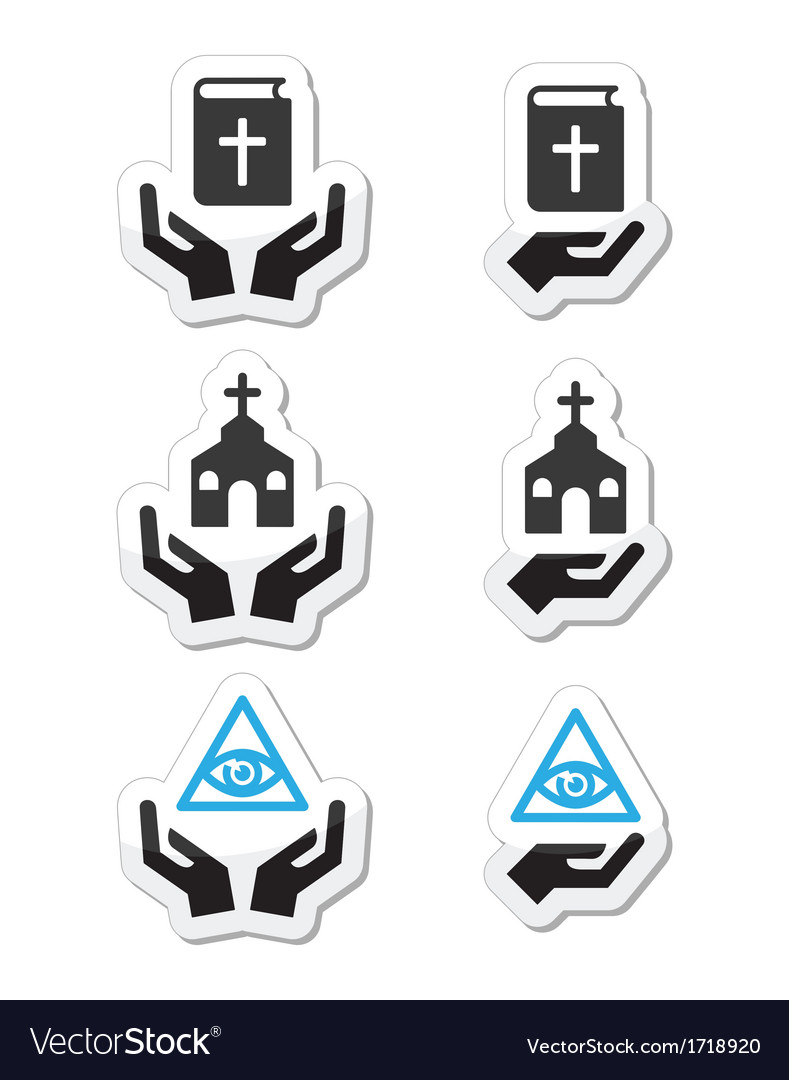 Religion icons - hands with bible church vector | Price: 1 Credit (USD $1)