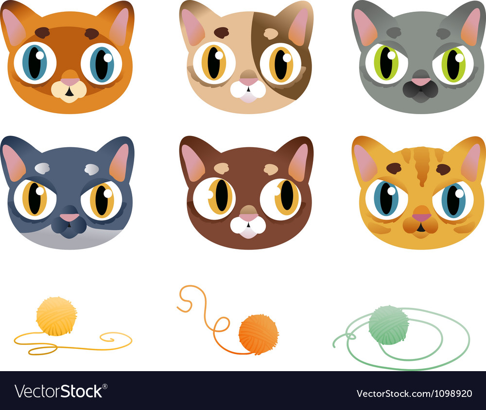 Set of cartoon cats vector | Price: 1 Credit (USD $1)