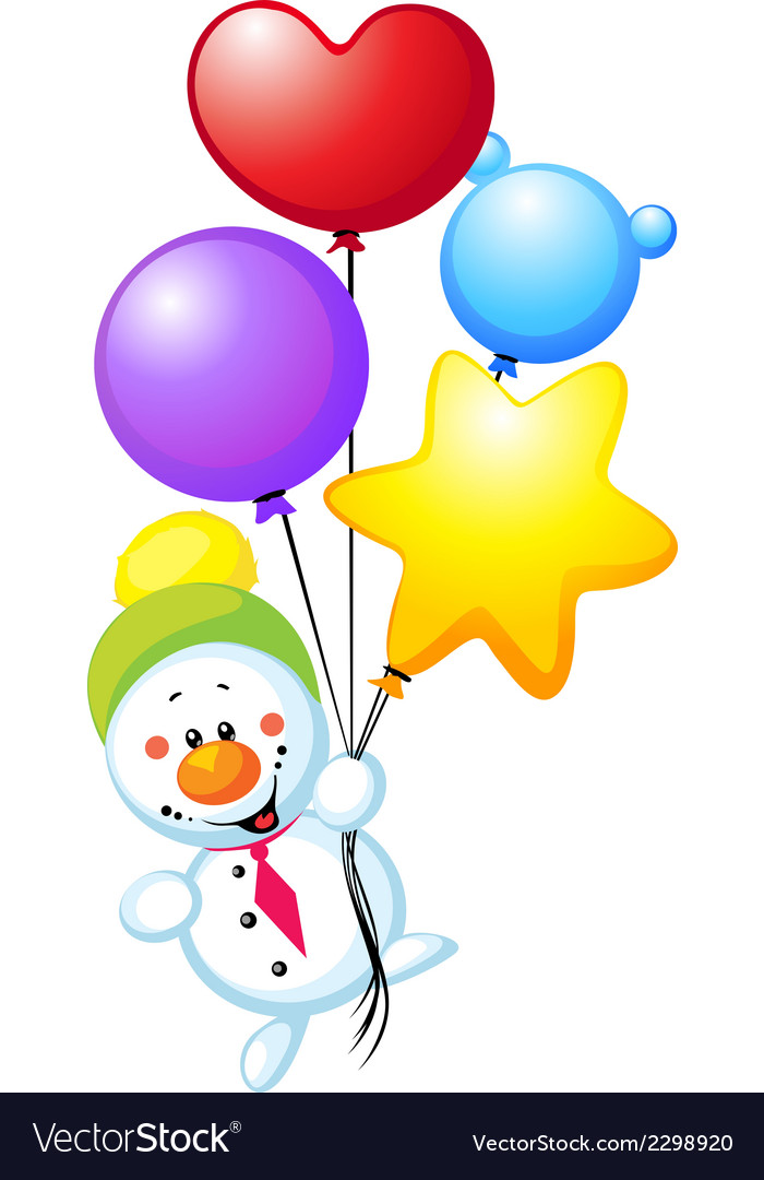 Snowman flying with colorful balloons vector | Price: 1 Credit (USD $1)