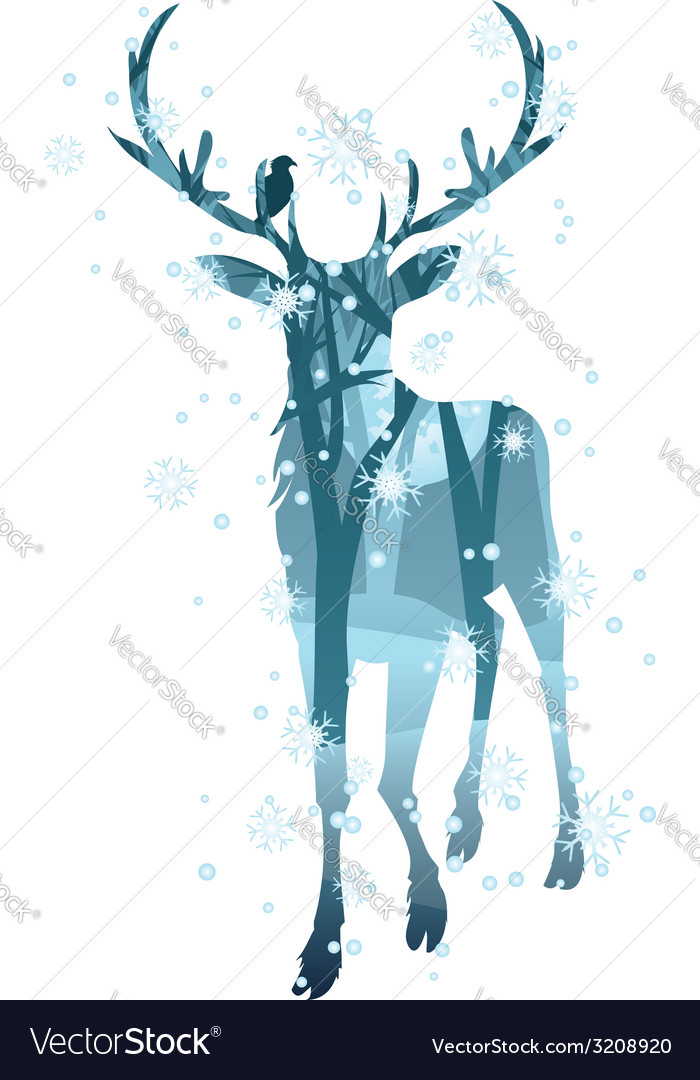 Stag silhouette with forest2 vector | Price: 1 Credit (USD $1)