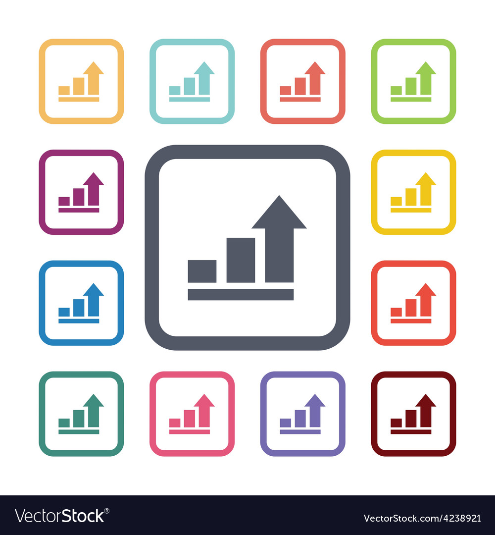 Arrows up diagram flat icons set vector   Price: 1 Credit (USD $1)