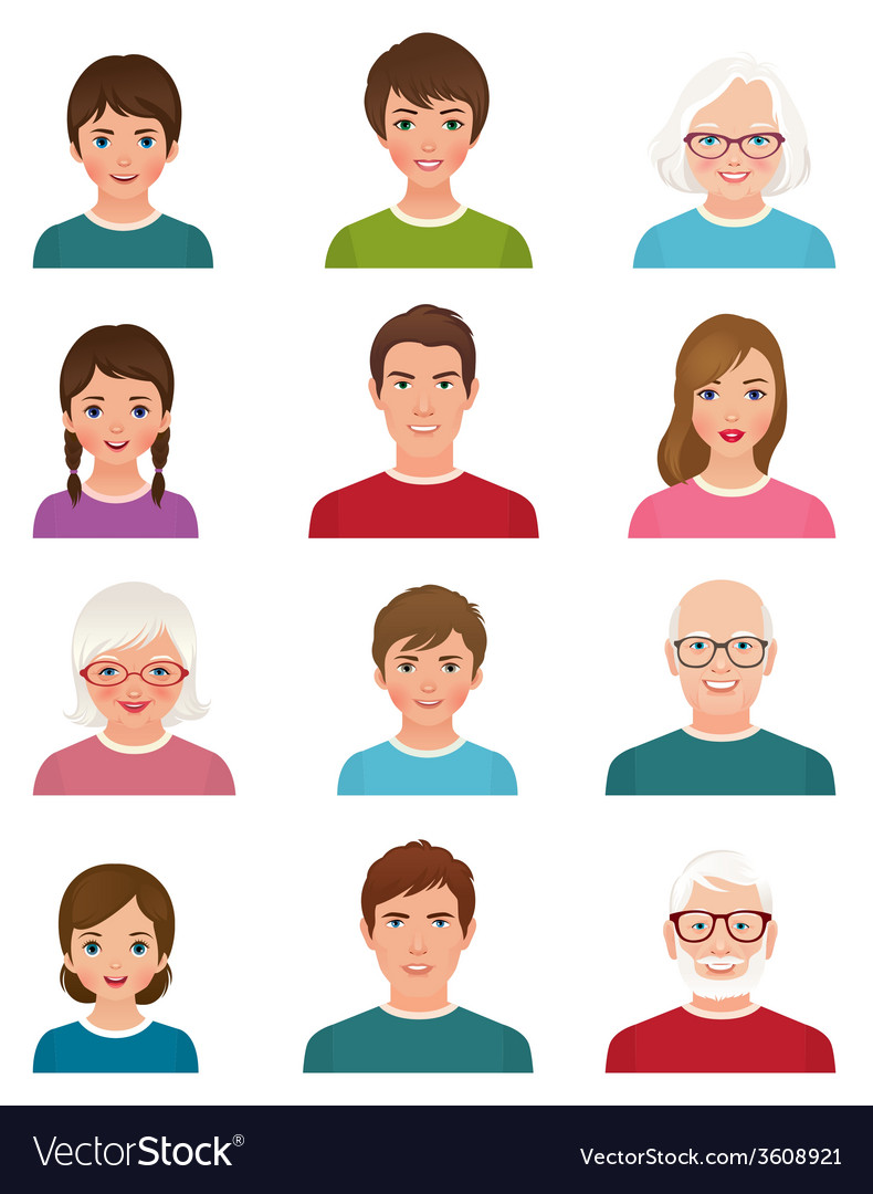 Avatars people of different ages vector | Price: 1 Credit (USD $1)